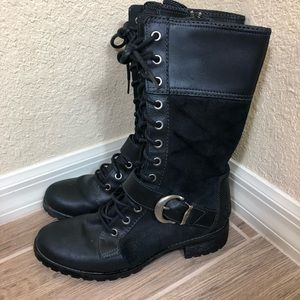 Timberland lace up buckle tall black boots 7